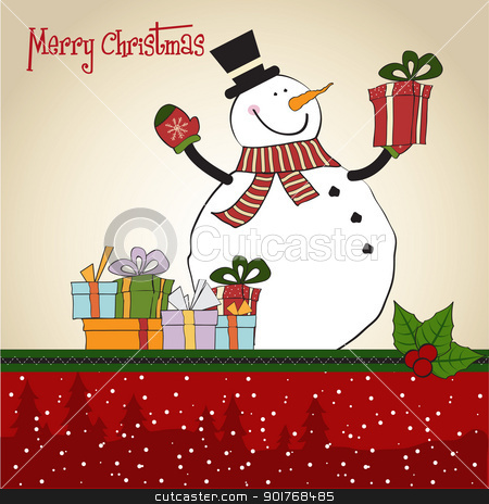 Christmas greeting card with snowman stock vector clipart, Christmas greeting card with snowman by balasoiu
