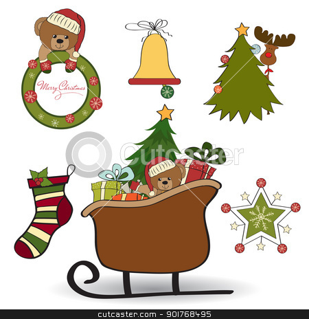 Christmas decoration isolated on white background stock vector clipart, Christmas decoration isolated on white background by balasoiu