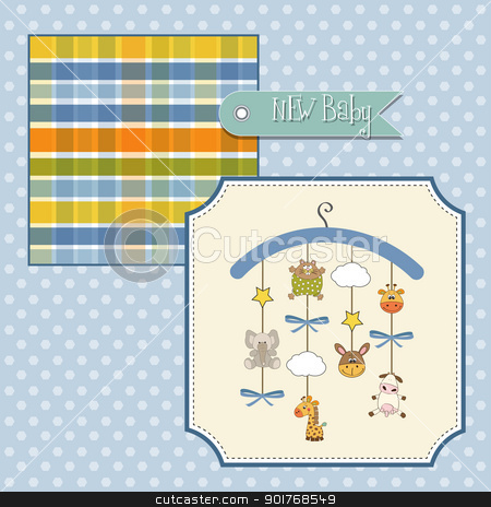 welcome baby announcement card stock vector clipart, welcome baby announcement card by balasoiu