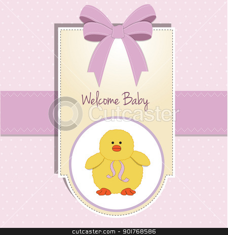 new baby card with little duck stock vector clipart, new baby card with little duck by balasoiu