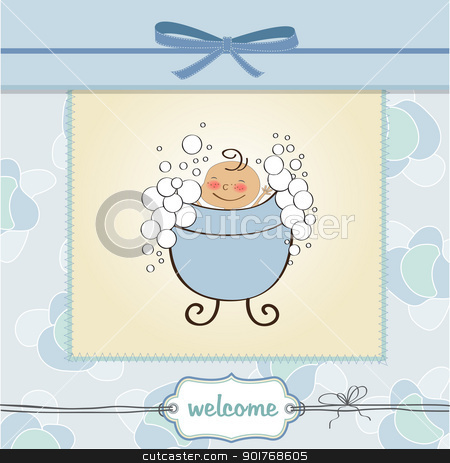 delicate baby boy shower card stock vector clipart, delicate baby boy shower card by balasoiu