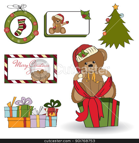 Christmas decoration elements set stock vector clipart, Christmas decoration elements set by balasoiu