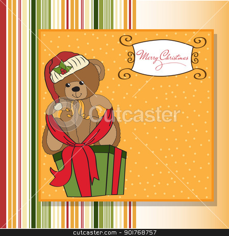cute teddy bear with a big Christmas gift box stock vector clipart, cute teddy bear with a big Christmas gift box by balasoiu