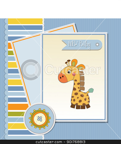 welcome baby card with giraffe stock vector clipart, welcome baby card with giraffe by balasoiu