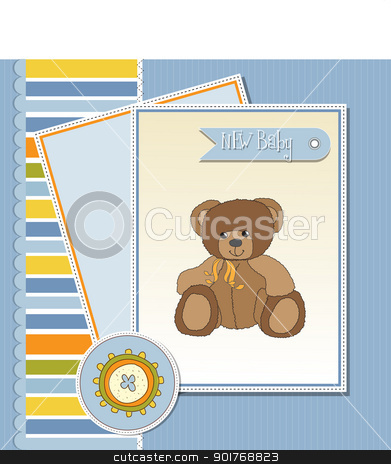 baby greeting card with sleepy teddy bear stock vector clipart, baby greeting card with sleepy teddy bear by balasoiu