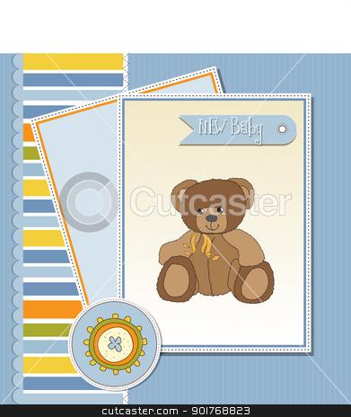 baby greeting card with sleepy teddy bear stock vector clipart, baby greeting card with sleepy teddy bear by balasoiu