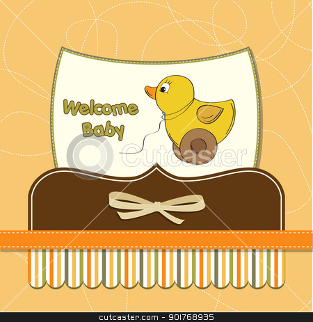 welcome baby card with duck toy stock vector clipart, welcome baby card with duck toy by balasoiu