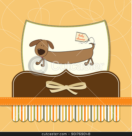 funny baby shower card with long dog stock vector clipart, funny baby shower card with long dog by balasoiu