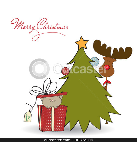 Christmas greeting card with little cat stock vector clipart, Christmas greeting card with little cat by balasoiu