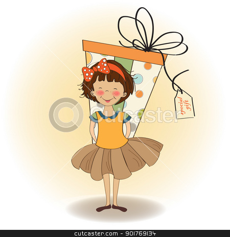 pretty young girl she hide a big gift stock vector clipart, pretty young girl she hide a big gift by balasoiu