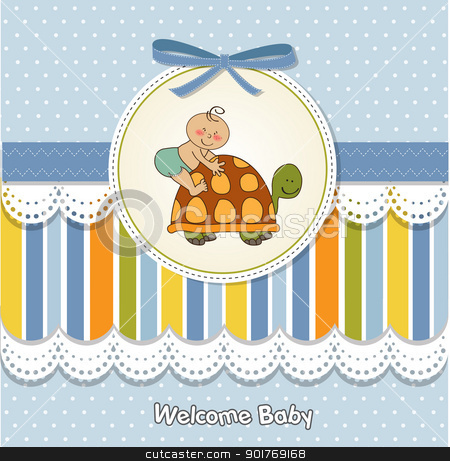 funny baby shower card stock vector clipart, funny baby shower card by balasoiu