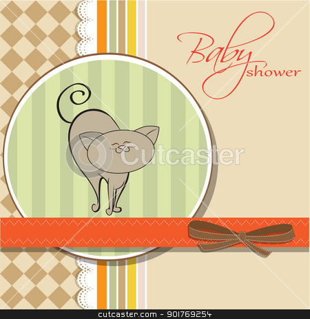 shower card with cat stock vector clipart, shower card with cat by balasoiu