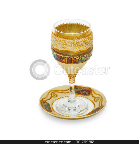 Jewish Glass for wine stock photo, Jewish glass for a meeting of the Jewish Saturday. Handmade. by lermannika