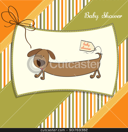 funny shower card with long dog stock vector clipart, funny shower card with long dog by balasoiu