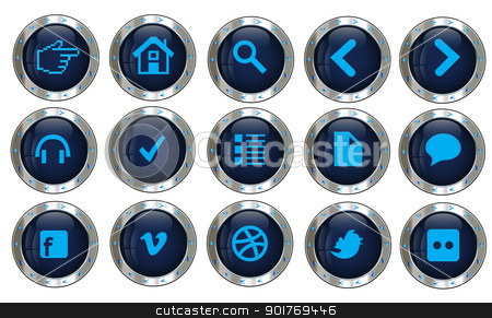 Silver web site icons stock vector clipart, Items in the set are a good fit to be used in web apps considering there are icons of actions, charts, comments, devices, social networking and more. by Vladimir Repka