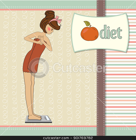 Young woman on scale stock vector clipart, Young woman on scale by balasoiu