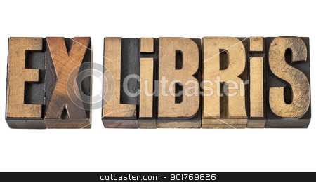 ex libris in wood type stock photo, ex libris - isolated text in vintage letterpress wood type by Marek Uliasz