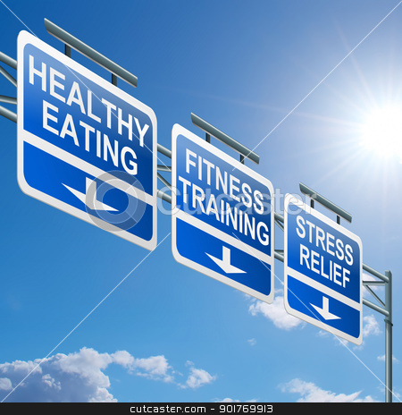 Healthy lifestyle concept. stock photo, Illustration depicting a highway gantry sign with a healthy lifestyle concept. Blue sky background. by Samantha Craddock