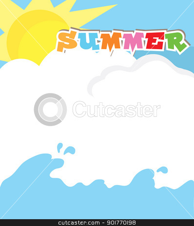 summer background stock vector clipart, summer background with sun and water theme by glossygirl21