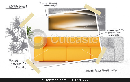 House restyle project stock photo, Orange modern sofa in luminous room whit plant and decorative canvas panel by Giordano Aita
