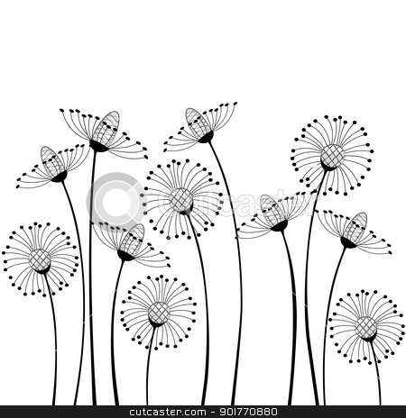 meadow flowers stock vector clipart, meadow flowers on white background by Miroslava Hlavacova