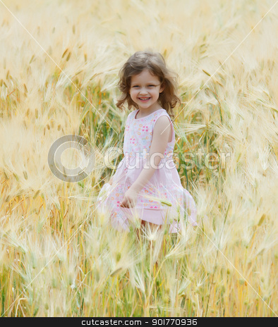 girl in a field stock photo, a little girl sing and dance in a field of rye by fogen