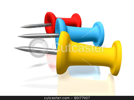 Push pins stock photo, An illustration of 3d push pins by Sreedhar Yedlapati
