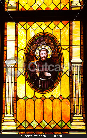 Friar Junipero Serra Stained Glass Immaculate Conception Church  stock photo, Friar Junipero Serra, Founder of California Missions, Stained Glass, Old Immaculate Conception Church Old San Diego California  Historic Adobe Church built originally in 1851.  The Old Adobe Church was restored and reopened in 1917.   by William Perry