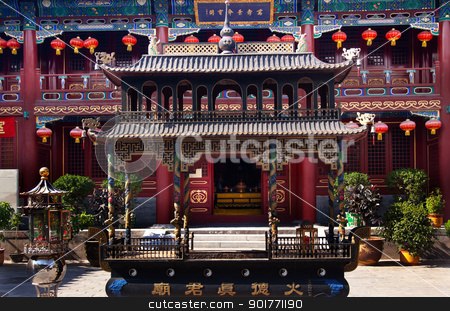 Guanghua Buddha Temple Incense Burner Beijing China stock photo, Guanghua Buddha Temple Incense Burner Beijing China Famous Buddhist Temple on Houhai Lake, Beijing, China by William Perry