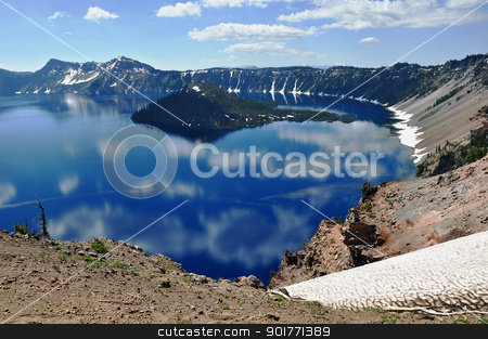 Blue Crater Lake in Oregon stock photo, Blue Crater Lake in Oregon, USA by perlphoto