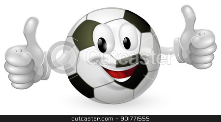 Football Ball Mascot stock vector clipart, Illustration of a cute happy soccer football ball mascot man smiling and giving a thumbs up by Christos Georghiou
