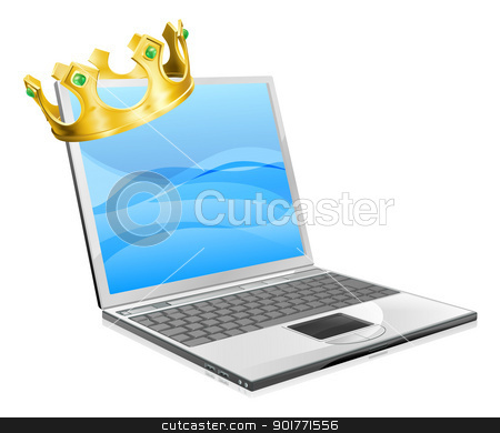 Laptop King stock vector clipart, Laptop king concept illustration, a laptop computer wearing a crown  by Christos Georghiou