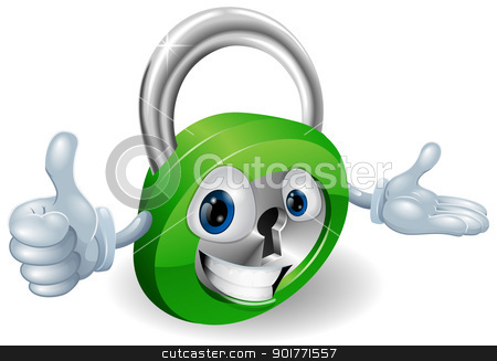 Padlock mascot illustration  stock vector clipart, Smiling padlock safety concept mascot with thumbs up and open hand by Christos Georghiou