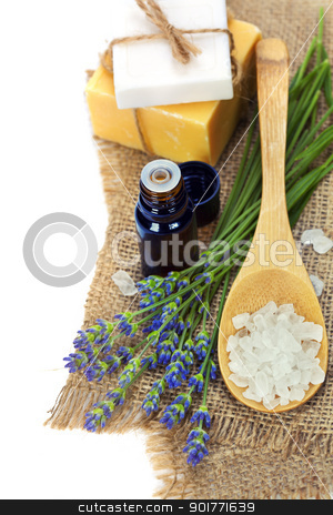 lavender spa stock photo, lavender spa (fresh lavender flowers,  essential oil, salt,  soap) over white by klenova