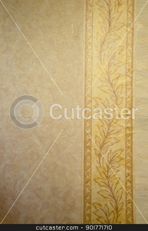 Wallpaper wall.  stock photo, Wallpaper on the wall. Paper background with horizontal leafy bar.  by sauletas