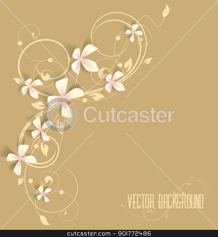 pink flowers stock vector clipart, beautiful floral background with pink flowers by Miroslava Hlavacova