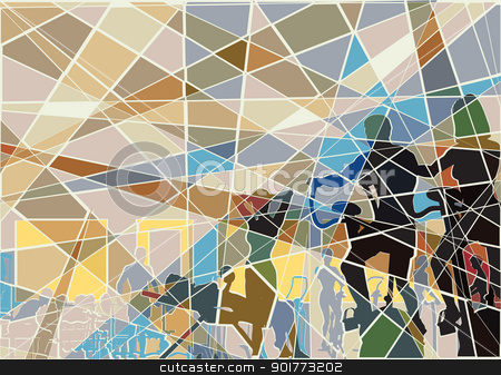 Gymnasium mosaic stock vector clipart, Editable vector batik mosaic design of people exercising in a gym by Robert Adrian Hillman
