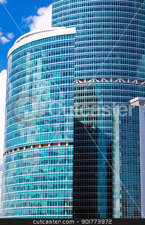 High blue skyscrapers stock photo, new skyscrapers fo the Moscow city business center, Russia by Alexey Popov