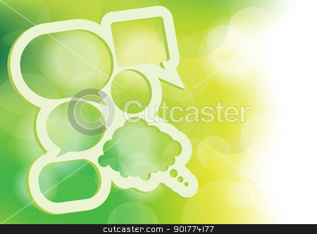 Speech Bubbles Template stock vector clipart, Abstract Design Template - Speech Bubbles With Copyspace on Green Bokeh Background by JAMDesign