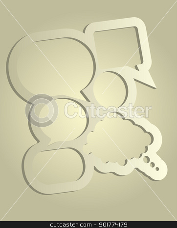 Speech Bubbles stock vector clipart, Abstract Design - Speech Bubbles With Copyspace on Light Sandy Background by JAMDesign