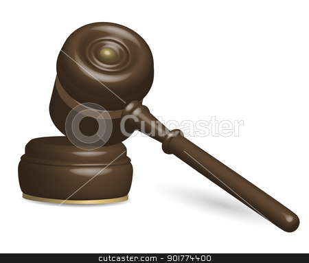 Judge Gavel stock vector clipart, Illustration of Judge Gavel Isolated on White by JAMDesign