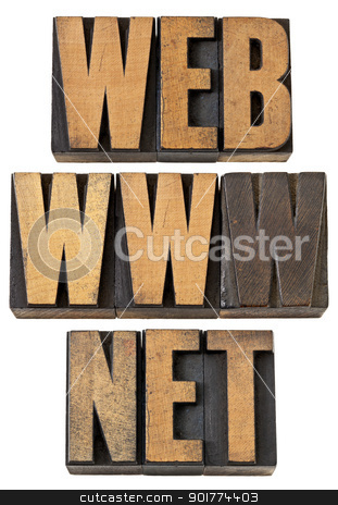 web, www, net  words in wood type stock photo, web, www, net  - internet concept - isolated text in vintage letterpress wood type by Marek Uliasz