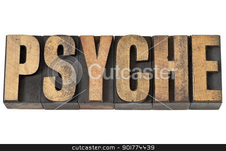 psyche word in wood type stock photo, psyche - isolated text in vintage letterpress wood type by Marek Uliasz