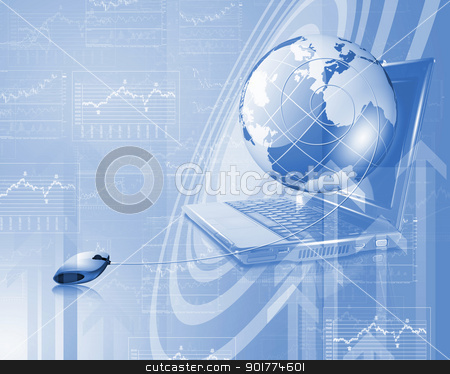 Planet earth and technology background stock photo, Planet earth and technology background with computer objects by Sergey Nivens