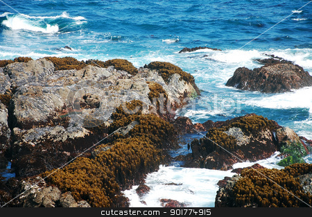 Rocky Oregon coast stock photo, Rocky Oregon coastline and surf by perlphoto