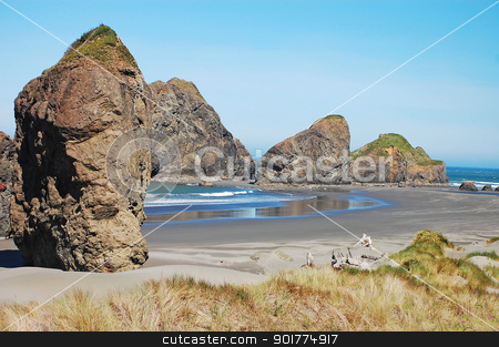 Rocky Oregon coast stock photo, Vie of rocky oregon coast by perlphoto