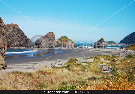 Rocky oregon coastline stock photo, Rocky oregon coastline on summer day by perlphoto
