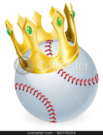 King of baseball stock vector clipart, King of baseball concept, a baseball ball wearing a gold crown  by Christos Georghiou