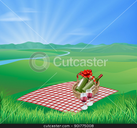 Picnic landscape stock vector clipart, Picnic blanket and red wine in natural landscape. Romantic scene by Christos Georghiou