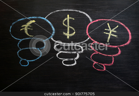 Euro, dollar and yuan symbol drawn with chalk on a blackboard stock photo, Euro, dollar and yuan symbol drawn with chalk on a blackboard by John Young